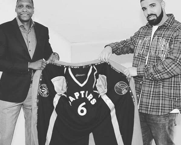 Garrison and Drake with Toronto Raptors Suit