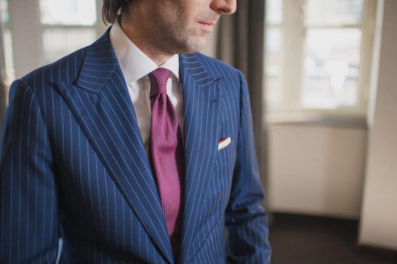 custom tailored pinstripe suit by garrison bespoke